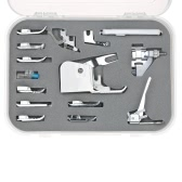 15pcs Machine à coudre professionnelle Presser Walking Feet Kit Ensemble compatible pour la machine à coudre Low Shank (pour Brother / Babylock / New Home / Singer / Pfaff / Janome / Kenmore, etc.)