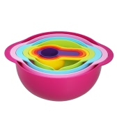 8pcs Colorful Mixing Bowl Set Plastic Measuring Cups Colander Mesh Sifter Stackable Mixing Bowls with Pour Spout Handles Baking Cooking Tools