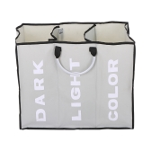 3-Section Large Foldable Oxford Laundry Basket Bag Dirty Clothes Storage Bag Organizer with Aluminum Handles