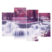 HD Printed 4-Panel Unframed Maple and Waterfall Pattern Canvas Painting Wall Art Modular Pictures Decor for Home Living Room Bedroom Office