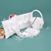 5pcs / set Rifornimenti di cerimonia nuziale bianchi Raso Flower Girl Basket + Ring Bearer Pillow + Guest Book + Portapenne + Set reggicalze Sposa