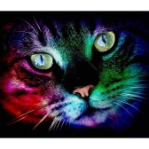 Diamond Painting Cross Stitch Craft Color Cat Face Artwork DIY 5D Round Diamond Embroidery Home Decoration