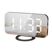 Светодиодный цифровой будильник с большим белым шрифтом Дисплей Зеркальная поверхность Функция повтора Dual USB Зарядка Порты для спальни Детские комнаты Офисные поездки