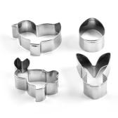 Mini moldes de pastel de animales de acero inoxidable de 4 piezas