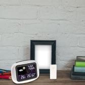 Anself Multi-funcional Tempo sem fio Previsão relógio digital colorida LCD Indoor Outdoor termômetro higrômetro Alarme Snooze Função Dia Exibição Calendário