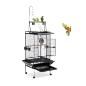iKayaa Iron Bird Parrot Cage Large Play Top Toy Macaw Cockatoo Parakeet Conure Finch Cage + Stainless Steel Bowl & Lockable Wheels
