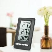 LCD Digital Termômetro sem fio Medição de temperatura interna e externa ° C / ° F Relógio de valor máximo / mínimo Relógio 12H / 24H