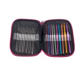 Home Use Travel 22Pcs Crochet Needles Some Sewing Kit Accessories Cross Weave Stitch Multifunction Portable Storage Box Multicolor Silver Tools Hooks Knitting Craft Case Bag Organizer