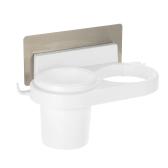 Esonmus plástico baño multifuncional pared autoadhesiva secador de pelo titular organizador cepillo de dientes estante de almacenamiento con etiqueta - blanco