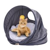 Multi-funcional plegable gato mascota tienda de campaña cama Castle Nest Roll túnel de juguete con almohadillas suaves colgando Bell Ball