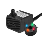 350L/H 5W Submersible Water Pump with 4 LED Light Ultra Quiet for Pond Aquarium Fish Tank Tabletop Fountain Hydroponics 4.9ft (1.5m) Power Cord