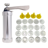 25Pcs Aluminium Alloy Press Machine Biscuit Making Pump Multi Pattern Cookie Biscuits Maker Cookies Mold Extruder Kitchen Cake Decorating 20 Moulds+ 4 Nozzles