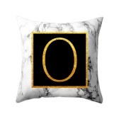 Fundas de almohada modernas 45 * 45 Gold Alphabet Word Letter White Marble Pattern Pillow Case