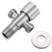 G1/2 Three-Way Angle Valve Stainless Steel Water Sink Bathroom Toilet Kitchen Water Heater Hot and Cold Water Stop Valve Shower Arm Diverter Valve Replacement Part