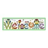 Decdeal 22.8 * 6.7 pulgadas Kit de punto de cruz con patrón de tarjeta de bienvenida de búho con tela de lona preimpresa de 14 quilates e hilo de algodón bordado de punto de cruz costura decoración de la pared del hogar