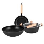Набор посуды из 3 предметов, сковорода вок, кастрюля с крышкой, кастрюли и сковороды, набор для яиц Maifan Stone с антипригарным покрытием