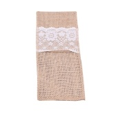 Natural Burlap Lace Tableware Bags Utensil Holders Knifes Forks Bag Party Bridal Shower Wedding Cutlery Pouch
