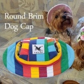 Round Brim Dog Cap Pet Hat Mesh Prorous Sun Cap with Ear Holes for Medium Dogs Puppy