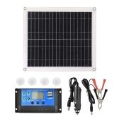 25W 5VポータブルダブルUSBポートフレキシブル高効率Sunpower多結晶ソーラーパネル電源キット(コントローラ付き)