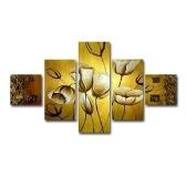 Golden Tree 5 piezas abstractas pinturas al óleo pintadas a mano florales