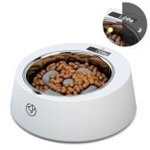 Alimentador de báscula digital para mascotas para perros Recipiente de alimentación lenta Pesaje preciso Recipientes para perros de acero inoxidable