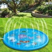 68 Zoll aufblasbares Spritzkissen Tiermuster Sprinkler Spritzspielmatte für Kinder Party im Freien Schwimmbad Wassersprinkler Spielzeug