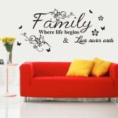 Calcomanías de pared Citas Flower Vine Word Wall Sticker Quotes DIY Family Inspirational Wall Art Sticker Wall Mural Paint Decor