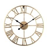 Блочные часы в европейском стиле, простые часы для гостиной, ретро, золото, черная указка, кованые, немые, цифровые настенные часы, украшение