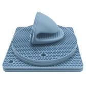 4PCS Alfombrilla de mesa resistente al calor 2PCS Horno Clips de mano Almohadillas antideslizantes para ollas calientes Guantes de silicona