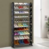 iKayaa Tragbare 10 Tier Stehen Schuhzahnstangen-Organisator Turm stapelbare Schuhe Lagerung Regal Schrank für 40 Paar Schuhe Freies Combinition