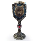 Hot Unique Cool Creative Novelty Resin Stainless Steel Liner Creepy 3D Wolf Goblet Beer Milk Mug Wine Cup Drinkware for Decoration Gift