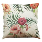 Fashionable Elegant Colorful High-quality African Tropical Plants Leaves Flowers Linen Printed Square Throw Pillow Covers Pillowcases Cushion Decorative for Rome Office Car Seat
