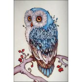 DIY Handmade 5D Diamond Painting Rhinestone Pasted Cross Stitch Blue Owl Pattern for Home Wall Decoration