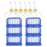 Paquete de 12 accesorios de reemplazo para iRobot Roomba 600 Series 690 691 694 650 651 664 615 601 630 Aspirador - 6 filtros + 6 cepillos laterales