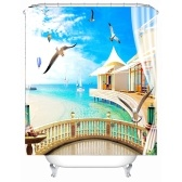Simulation 3D Seaview Natural Scenery Waterproof Shower Curtain Drapes of Bathroom Toilet with Hooks