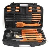 18шт барбекю гриль набор инструментов деревянная ручка профессиональные аксессуары для гриля