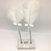 Pluma de firma de boda Pluma de pluma con dos titulares Pluma de firma de boda Set Suministros de decoración para libro de visitas