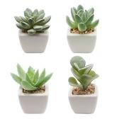 Conjuntos de plantas de simulação artificial com 4 pacotes de suculentas falsas em vasos de cerâmica