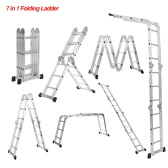 iKayaa 7 in 1 Ladder Aluminum Work Platform W/ Safety Locking Hinge 330LB/150KG Capacity EN131 Approved