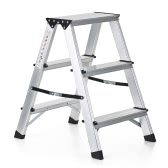 iKayaa Folding 2 Step Ladder 330 Pound Capacity Portable Aluminum Stepladder Non-Slip