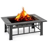 iKayaa Metal Garden Backyard Fire Pit Patio Rectangulaire Firepit Poêle Brazier Outdoor Fireplace W / Firepit Cover & Poker + BBQ Grill