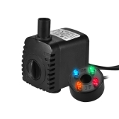 600L/H 8W Submersible Water Pump with 4 LED Light 2 Diameter Nozzles Ultra Quiet for Pond Aquarium Fish Tank Tabletop Fountain Hydroponics 4.9ft (1.5m) Power Cord