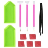 Pack of 11 5D Diamond Painting Tools Kit Point Drill Pen + Glue + Plastic Tray + Tweezers Diamond Cross Stitch Embroidery Accessories