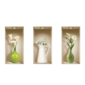 Set of 3 Colored Vase Murals 3D Removable DIY Wall Art Sticker Decals for Living Room Bedroom Sofa Home Decor