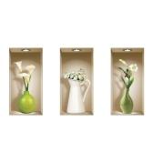 Set von 3 farbigen Vase Wandbilder 3D Removable DIY Wandkunst Aufkleber Decals für Wohnzimmer Schlafzimmer Sofa Home Decor