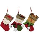 3pcs / set Симпатичные рождественские висячие чулки