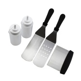 Professional Griddle Accessories Kit 5PCS BBQ Tool Kit Stainless Steel Grill Spatula Set for Grill Griddle Fits for Flat Top Cooking Camping Teppanyaki Grills and Griddle