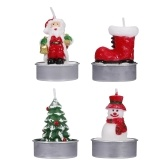 12 Pieces Christmas Candles Santa Snowman Tree Candles