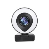 Потоковое вещание с веб-камеры 1080P Full HD с двойным микрофоном и кольцевой подсветкой USB-поток с веб-камеры для ноутбука YouTube OBS