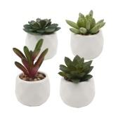 Paquete de 4 Mini suculentas en macetas Suculentas falsas Maceta de cerámica Conjuntos de plantas de simulación artificial